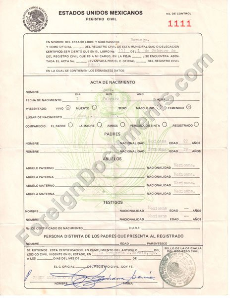 Certified Spanish Translation Mexican Birth Certificate