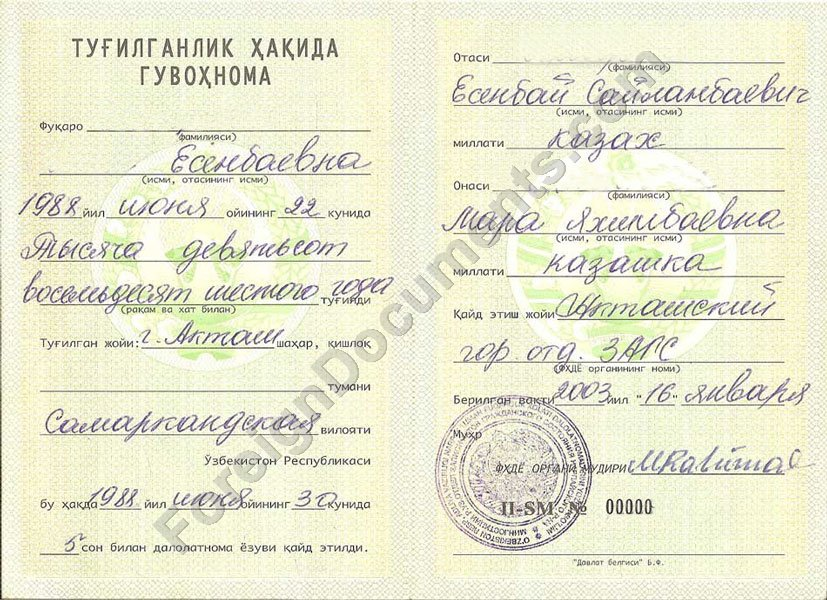 Certified Birth Certificate Translation Russian And