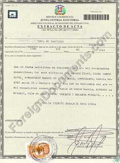 Dominicana birth certificate certified translation