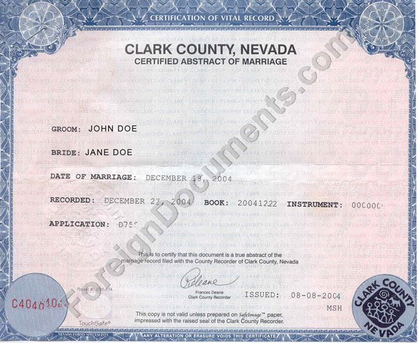 translation of u.s. marriage certificate issued in nevada into