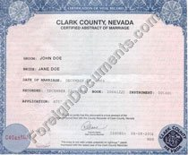 marriage certificates issued in USA, Nevada