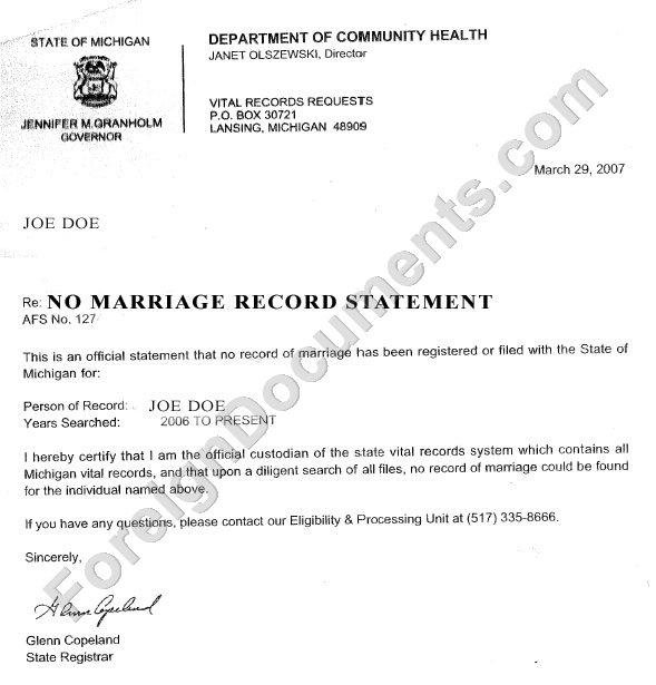Single Status Affidavit