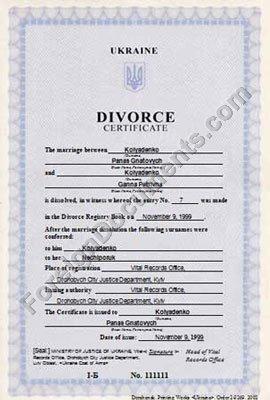 translation from ukrainian of divorce certificate