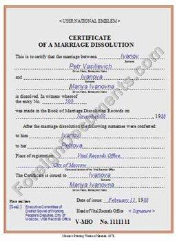 certified translation of USSR divorce