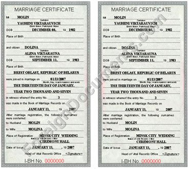 Marriage Certificate Issued In Belarus Certified Translation