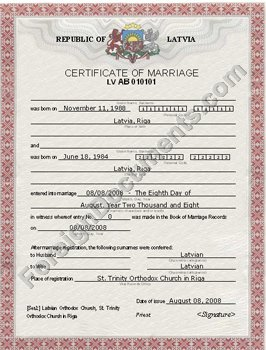 certified translation of latvian marriage certificate