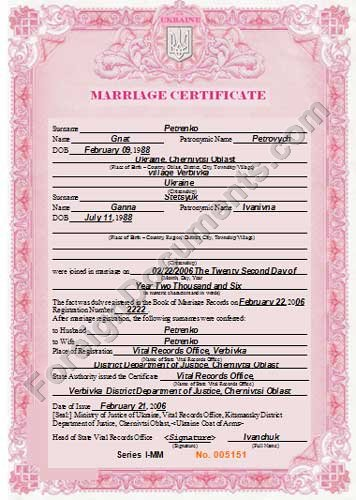 Translation Of Ukrainian Marriage Certificate