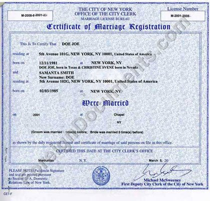 New York Marriage Certificate for Apostille