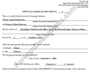 certified translation of Divorce Records in Russian