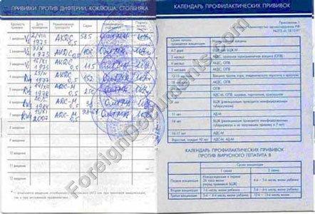 Russia Immunization Card No. 156